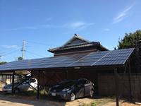事務所駐車場に屋根及び太陽光発電システムを導入した事例